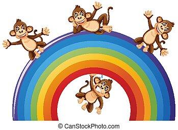 Happy monkeys over the rainbow on white background