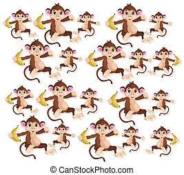 Happy Monkeys pattern Vector illustration banana fruits