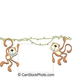 happy monkeys with blank board - two happy monkeys holding a...