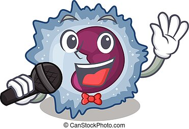 Happy monocyte cell singing on a microphone. Vector ...