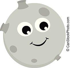 Happy moon vector or color illustration