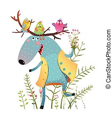 Happy Moose and Birds with Flowers