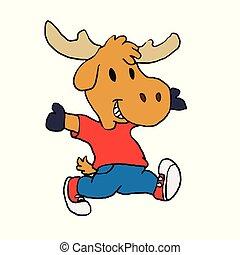Happy moose kid cartoon