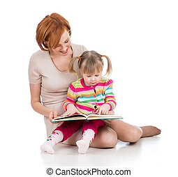 happy mother and child reading a book together