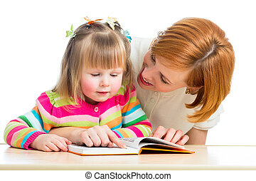 happy mother and child reading a bo