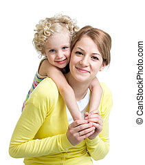 Happy mother and daughter isolated on white background