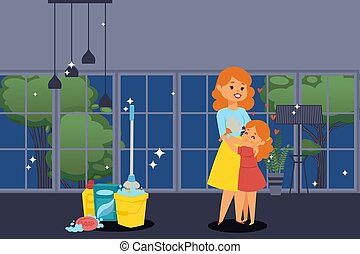 Happy mother and daughter, people in clean apartment, girl helps her mom with chores, vector illustration
