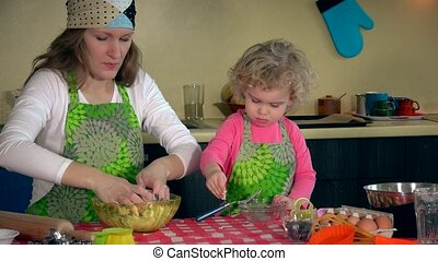 Happy mother and her adorable daughter knead dough together...
