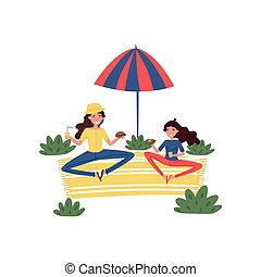 Happy mother and her daughter having picnic at park. Woman and girl sitting on carpet under umbrella. Flat vector design
