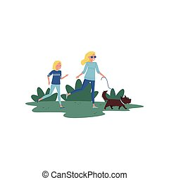 Happy mother and her little daughter running with dog in park. Active lifestyle. Family day. Flat vector design