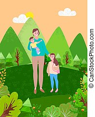Happy mother and kids spend time together in countryside. Vector woman and two kids, boy toddler and girl of 4 or 5 years. Family spend time outdoors