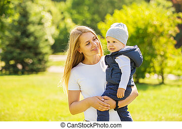 mother and son on a walk