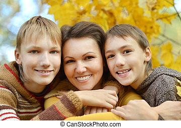 Happy Mother and sons