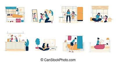 Mother daughter pastime spending stay at home. Parent child morning, day, evening activity. Kid care, development. Mom girl play, cook in kitchen. Happy motherhood, childhood. Family scene set