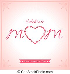 Happy mother day banner card with heart