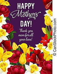 Happy Mother Day banner with spring flower frame