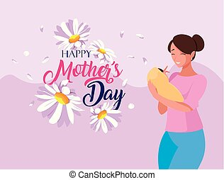 happy mother day card with mom and baby