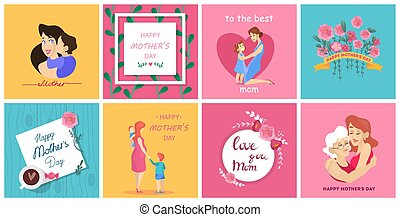 Happy mother day greeting card set. Collection