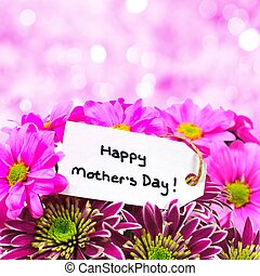 Happy Mother Day tag with flowers