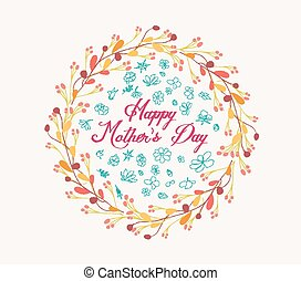 happy mother day with wreath floral