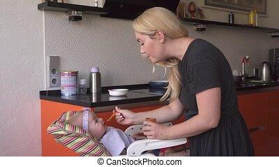 Happy mother feeding adorable baby girl