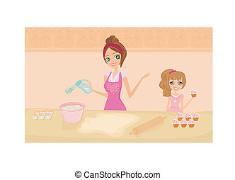 mother helping her daughter cooking