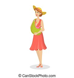 Happy mother holding baby in a sling. Young mom
