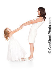happy mother holding hands his daughter isolated on white background