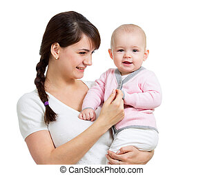 Happy mother holding her daughter child isolated