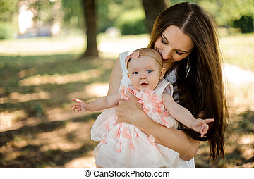 Happy mother holding her little daughter on hands in the green park