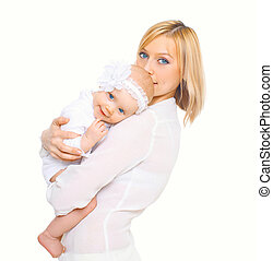 Happy mother hugging baby on a white background