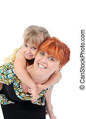 happy mother hugging her daughter.