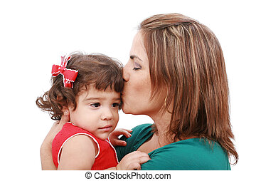 Happy mother kissing her daughter, isolated on white background