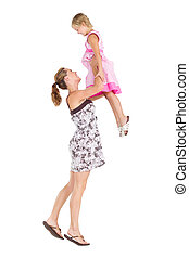 happy mother pick up daughter - happy mother pick up her...