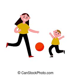 Happy mother playing ball with her son cartoon characters, mom and her child playing sports together vector Illustration