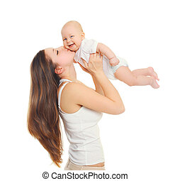 Happy mother playing kissing baby on white background