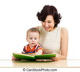 happy mother reading a book baby boy