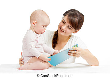 happy mother reading a book to child