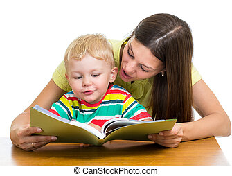 happy mother reading a book to kid
