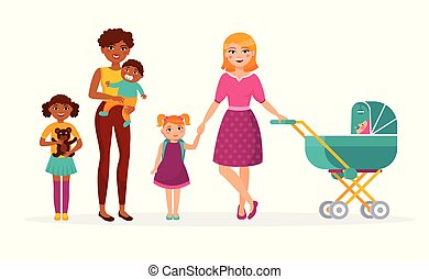 Happy Mother s day concept vector flat illustration. Two mothers with children are walking. Caucasian and African American families, women, girls, kids cartoon characters isolated on white background.