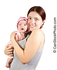 Happy mother with 2 month baby, Isolated over white background