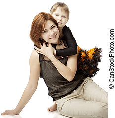 Happy mother with a child on a white background