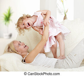 Happy mother with a daughter