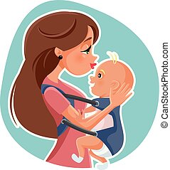 Happy Mother with Baby  Vector Illustration