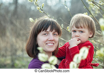Happy mother with   girl in  spring