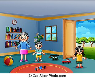 Happy mother with her children playing in living room