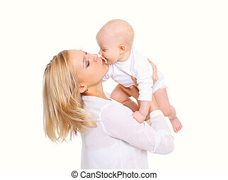 Happy mother with little baby on a white background