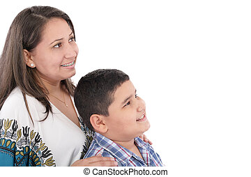Happy mother with orthodontics and son isolated on light background