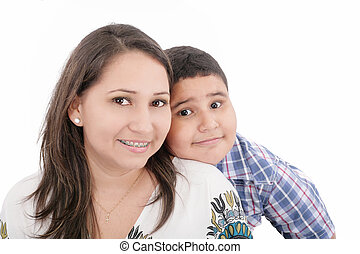 Happy mother with orthodontics and son - isolated over a white background