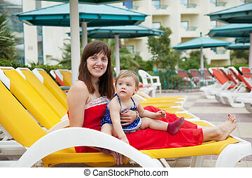 mother with toddler at resort